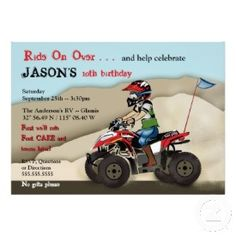 Blue ATV Quad Birthday Party Invitations For A Boy From