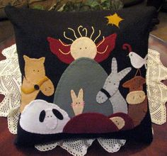 Hand Stitched 18 X 18 Folk Art NATIVITY SCENE by JennysToleShed  Made from my Plum Creek Collectibles pattern http://www.plumcreekcollectibles.com/shop.html#!/Christmas-Nativity-Table-Mat-Applique-Pattern-192/p/52231871/category=13608202