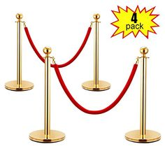 YORKING Queue Rope Barrier Post Stand,Red Carpet Round Top Polished Brass Stanchion Posts Queue Barrier,Stainless Steel Queue Crowd Control Barrier Post Line with 1.5m Red Twisted Rope,Gold