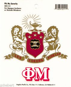 Phi Mu Sorority Crest & Letter Vinyl Decal Combo For Indoor/Outdoor Use  available in Good Things From Louisiana, an ebay store.