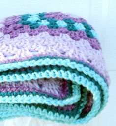 lavender and aqua crochet baby blanket, granny square reversible
