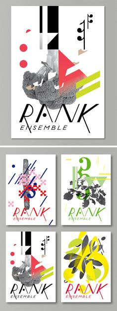 visual identity for rank ensemble - new and improvised music Graphic Design Illustration, Visual Identity, Places, Music, Poster, Inspiration, Graphics, Biblical Inspiration, Corporate Design