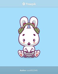 Cute rabbit gaming cartoon illustration | Premium Vector #Freepik #vector