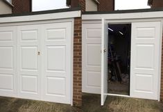 Bi-fold Side Hinged Garage Door in Thame, Oxfordshire Side Hinged Garage Doors, Garage Door Hinges, Carriage Garage Doors, Screen Door Rollers, Garage Door Torsion Spring, Security Shutters, Garage Bike, Metal Garages, Mechanic Garage