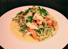 torsk med estragon, gurkemeje, pasta og grøntsager #torsk med pasta