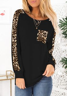 Leopard Printed Pocket T-Shirt Tee without Necklace - Army Green Get the latest womens fashion online With of new styles every day from dresses, onesies, heels, & coats, # Pop Fashion, Daily Fashion, Fashion Outfits, Latest Fashion, 1950s Fashion, Cheap Fashion, Womens Fashion, Home T Shirts, Tee Shirts