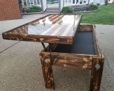 """x x 20 """" tall Wood Inlay American Flag Coffee Table with epoxy top (looks like glass) finish. The wood has a torched /distressed/ polyurethane finish with a bottom shelf. Also available lifting top concealment area. Lift Top Coffee Table, Diy Coffee Table, Coffee Table Design, Decorating Coffee Tables, Diy Table, Man Cave Coffee Table, Shadow Box Coffee Table, Diy Pallet Projects, Wood Projects"""