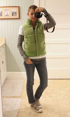 layered shirts, puffy vest, chucks | The Pleated Poppy