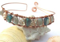 Copper cuff bracelet pearls amazonite and mother of pearl shell by SunshineDaydreamz