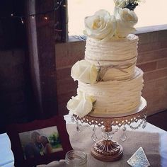 Simple and elegant pumpkin spice wedding cake.  Beautiful!!