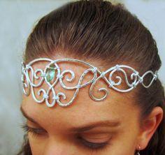 Circlet Headpiece Green Quartz Marquise Teardrop - Silver Aluminum - Bridal Tiara - Medieval Elven Crown