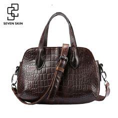 86724dd54cb3 High Quality Women Fashion Design Handbag Genuine Leather Female Small Messenger  Bag Vintage Retro Alligator Leather