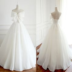 Newest Design Organza Bow A-line Lace Up Wedding Dresses, Chic Popular Wedding Dresses,prom dress Popular Wedding Dresses, Long Wedding Dresses, Bridal Dresses, Wedding Gowns, Prom Dresses, Wedding Dress Organza, Princess Wedding, Birthday Dresses, Facon