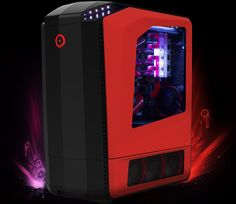 GENESIS Desktop in Red and Front Lights with 4 way SLI in 90 degree inverted orientation
