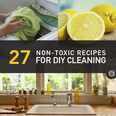 27 NON-TOXIC Recipes for DIY Cleaning. It basically comes down to lemon, baking soda, vinegar, olive oil for some, and something called castille soap. I had no idea house hold pollution was ranked as such a high problem!