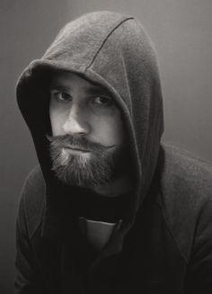 Handsome hoodie beard man