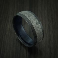 Black Zirconium Ring with Gibeon Meteorite Inlay and Interior Hardwood Sleeve Custom Made Men's Wedding Band. Browse our selection of men's wedding bands & rings at Revolution Jewelry today! Meteorite Wedding Band, Wedding Ring Bands, Gibeon Meteorite, Wedding Men, Wedding Tips, Wedding Rustic, Wedding Venues, Dream Wedding, Wood Rings