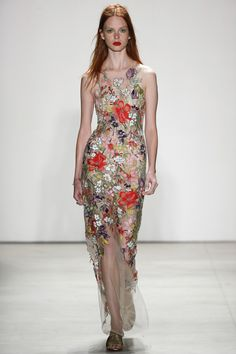 Sleeveless Sheer Floral Long Dress - Jenny Packham Spring 2016 Ready-to-Wear Fashion Show