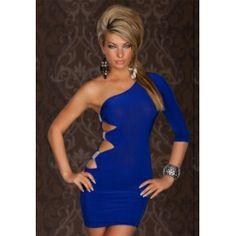 Blue One Sleeve Sexy Clubwear