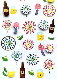 Japanese Stickers Summer Theme Beer Fireworks Wind Chimes (S237)