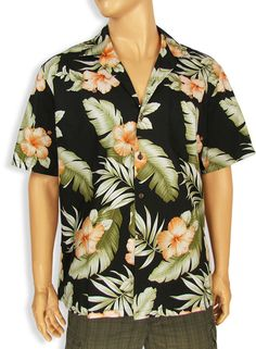 Hibiscus Mens Plus Size Cotton Hawaiian Shirt...casual, cool and comfortable