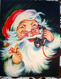 Vintage Christmas Greeting Card The Artistic Card of Santa on Phone