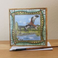 Red Kite Card Blank Square Greetings Card featuring by RieDesigned