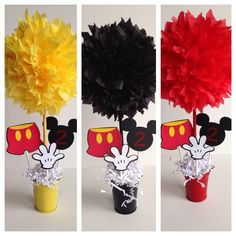Mickey Mouse birthday party decoration centerpiece by AlishaKayDesigns on Etsy Mickey Mouse Theme Party, Fiesta Mickey Mouse, Mickey Mouse Baby Shower, Mickey Mouse Invitation, Mickey Mouse Clubhouse Birthday Party, Mickey Mouse 1st Birthday, 2nd Birthday, Elmo Party, Birthday Ideas