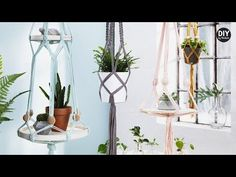 DIY by Panduro: Hanging holders with trays. Making hanging pot holders is a fun DIY project and a lovely way to decorate your home. We used trays to transform these hanging holders into hanging Hanging Pots, Diy Hanging, Decorating Your Home, Diy Home Decor, Panduro Hobby, Diy Plant Stand, Boho Diy, Simple Bathroom, Cool Diy Projects