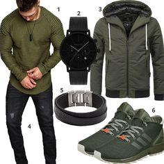 6427cc57a25 Schwarz-Grünes Herrenoutfit mit Longsleeve und Jacke (m0810) Modern  Gentleman, Gentleman Style