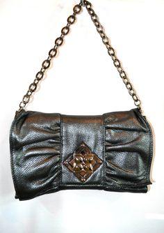 BCBG MaxAzria RARE Chestnut Satin Pleated Front Bow Clutch Handbag $178