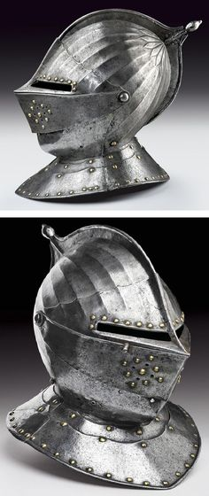 A closed helmet. provenance: France dating: first quarter of the 17th Century.: