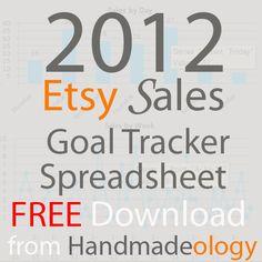 FREE 2012 Etsy Sales Goal Tracker Spreadsheet