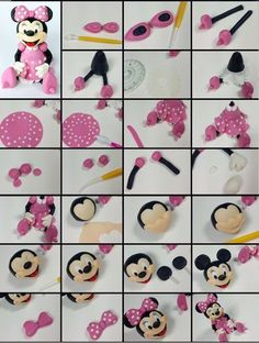 Minnie Mouse fondant cake topper tutorial step by step. Watch whole video tutori. - Just Cake It Minnie Mouse fondant cake topper tutorial step by step. Watch whole video tutori. Minni Mouse Cake, Bolo Da Minnie Mouse, Minnie Mouse Cake Topper, Minnie Cake, Mickey Cakes, Fondant Cupcakes, Fondant Cake Toppers, Fondant Figures, Cupcake Toppers