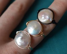 White Pearl Ring - Wire Wrapped Coin Pearl - Blue Purple Green Pink Iridescent - Made to Order by JBellsGems on Etsy