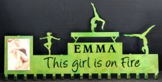 Gymnastics Medals Display: Gymnastics Ribbons Holder: Personalized Medals Holder