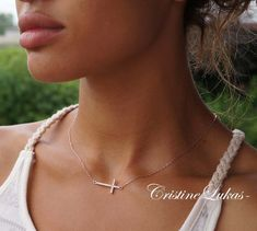10K or 14K Solid Rose Gold  Small Sideways Cross by CristineLukas