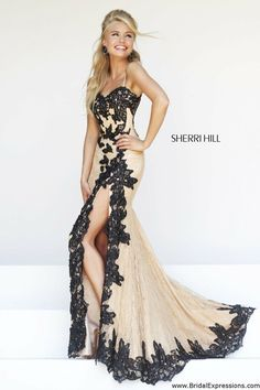 Sherri Hill 9817 Lace Prom Dress with Slit