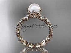 14kt rose gold diamond pearl unique engagement ring, wedding ring AP345