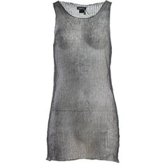 Avant Toi Tank Top featuring polyvore, women's fashion, clothing, tops, grey, loose fitting tanks, grey tank top, gray tank, sleeveless tank tops and loose fit tank top