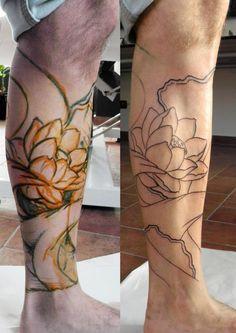 tatuaggio_freehand_polpaccio_fiore-di-loto