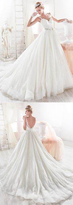 Stunning Tulle V-neck Neckline A-Line Wedding Dress With Lace Appliques & Beadings