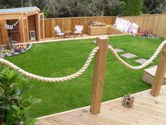 Synthetic Hemp Garden Rope Fence Along Raised Decking Deck Ideas - Garden decking rope