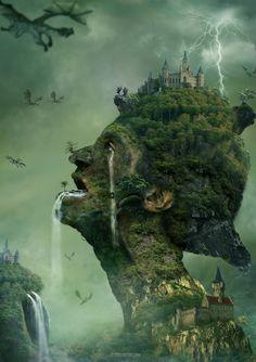 Surreal Art : Dragon Island by Dhikgital . Dream Fantasy, Fantasy City, Beautiful Fantasy Art, Fantasy Places, Fantasy Warrior, Fantasy World, Fantasy Landscape, Landscape Art, Surealism Art