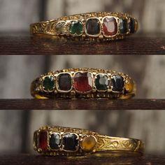 A Victorian DEAREST ring (with Diamond Emerald Amethyst Ruby Emerald Sapphire & Topaz pastes). Online now CJAntiquesLtd.com