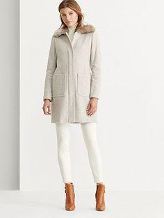 Faux Shearling–Trim Wool Coat - Lauren Wool - RalphLauren.com