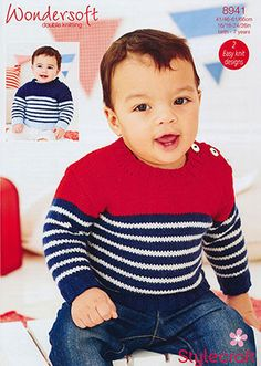 Baby Knitting Patterns Boy Baby Boy& Jumper in Stylecraft Wondersoft DK - Discover more Patterns. Baby Boy Sweater, Toddler Sweater, Knit Baby Sweaters, Knitted Baby Clothes, Boys Knitting Patterns Free, Baby Cardigan Knitting Pattern, Knitting For Kids, Baby Patterns, Beading Patterns Free