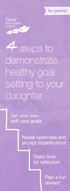 As parents, you can play a key role in supporting your daughter as she discovers how to best care for herself – body, mind and soul. If your daughter is thinking about setting a well-being goal, be her role model by being realistic, compassionate and loving towards yourself. Join us—create your own self-esteem board using #SelfEsteemProject.