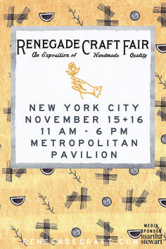 Renegade Craft Fair NYC is almost here! Kicks off 11/15 & admission is free! Check it out this weekend at #MetroPavilion
