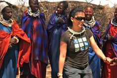 Being greeted by the women of a Masai village in Tanzania